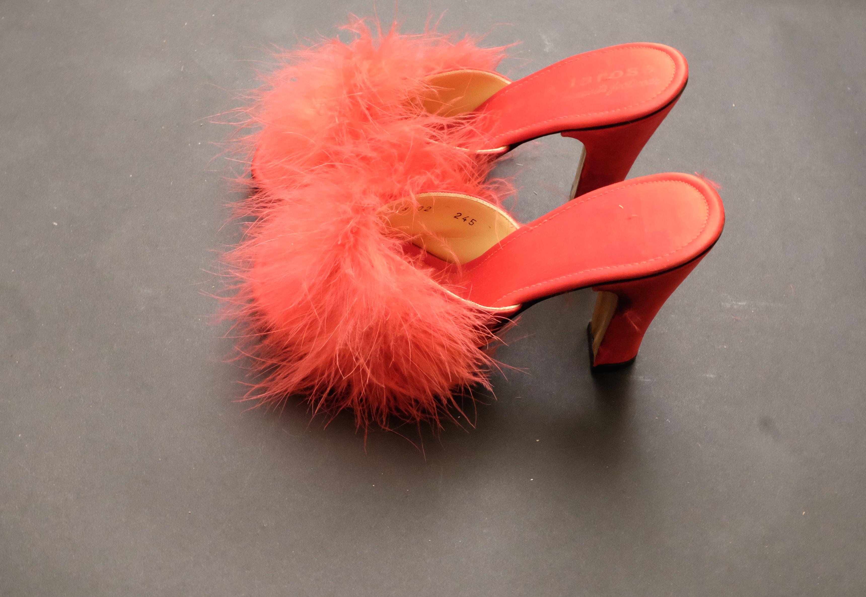 info for ffbac d9eef Vintage Red Feather Boa Peep Toed Kitten Heels – Velma Vintage